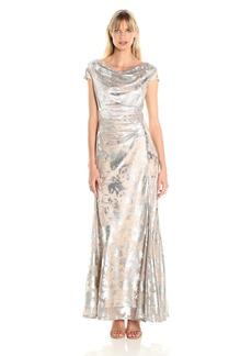 Tahari by Arthur S. Levine Women's Cowl Neck Burnout Gown