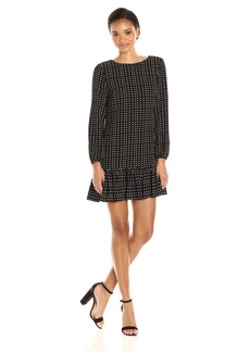 Tahari by Arthur S. Levine Women's Crepe Dot Long Sleeve Dress