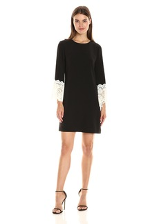 Tahari by Arthur S. Levine Women's Crepe Dress with Dollman Sleeve Black/Ivory