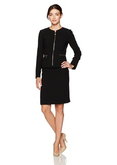 Tahari by Arthur S. Levine Women's Crepe Front Skirt Suit with Novelty Zippers