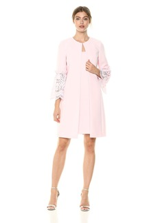 Tahari by Arthur S. Levine Women's Crepe Jacket with Tulip Sleeve Lace and Sheath Dress Set