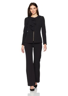 Tahari by Arthur S. Levine Women's Crepe Long Sleeve Zipper Front Ruffle Pant Suit