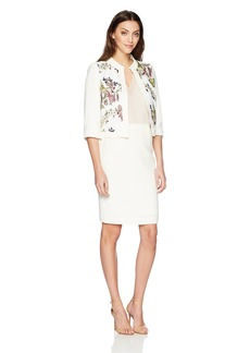 Tahari by Arthur S. Levine Women's Crepe Mesh Embrodiered Jacket Skirt Suit