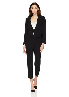 Tahari by Arthur S. Levine Women's Crepe Miltary Style Long Sleeve Jacket Pant Suit