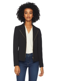 Tahari by Arthur S. Levine Women's Crepe Moto Jacket with Gold Finish Hardware