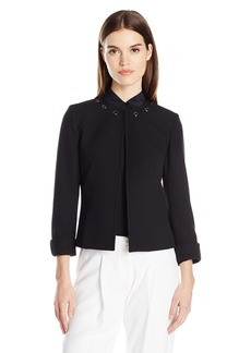 Tahari by Arthur S. Levine Women's Crepe Open Front Jacket with Grommets