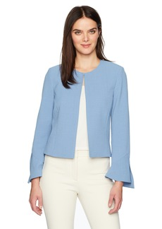 Tahari by Arthur S. Levine Women's Crepe Open Front Jacket with Tulip Sleeve Detail