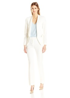 Tahari by Arthur S. Levine Women's Crepe Open Front Pant Suit with Gold Zippers