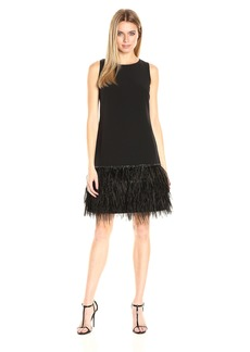 Tahari by Arthur S. Levine Women's Crepe Ostrich Feather Sheath Dress