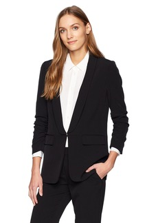 Tahari by Arthur S. Levine Women's Crepe Shawl Collar with Rouched Sleeve Jacket