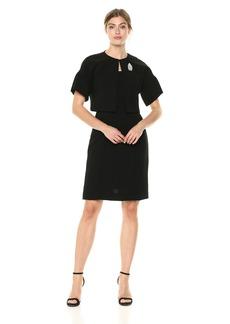 Tahari by Arthur S. Levine Women's Crepe Short Sleeve Jacket Dress with Pearl Trim