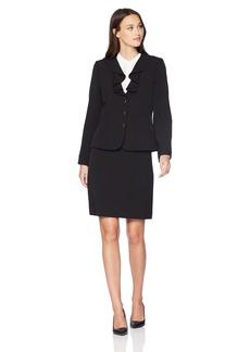 Tahari by Arthur S. Levine Women's Crepe Short Sleeve Skirt Suit with Ruffled Collar