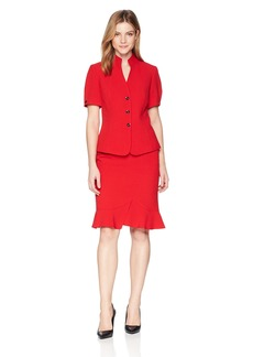 Tahari by Arthur S. Levine Women's Crepe Short Sleeve Skirt Suit with Stand Collar