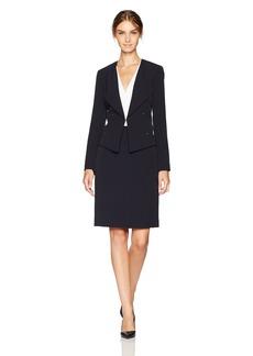 Tahari by Arthur S. Levine Women's  Crepe Skirt Suit with Gold Stud Trim