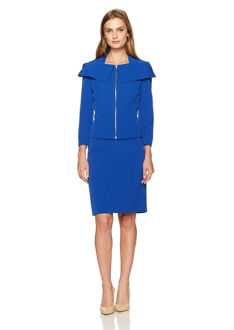 Tahari by Arthur S. Levine Women's Crepe Skirt Suit with Shawl Collar
