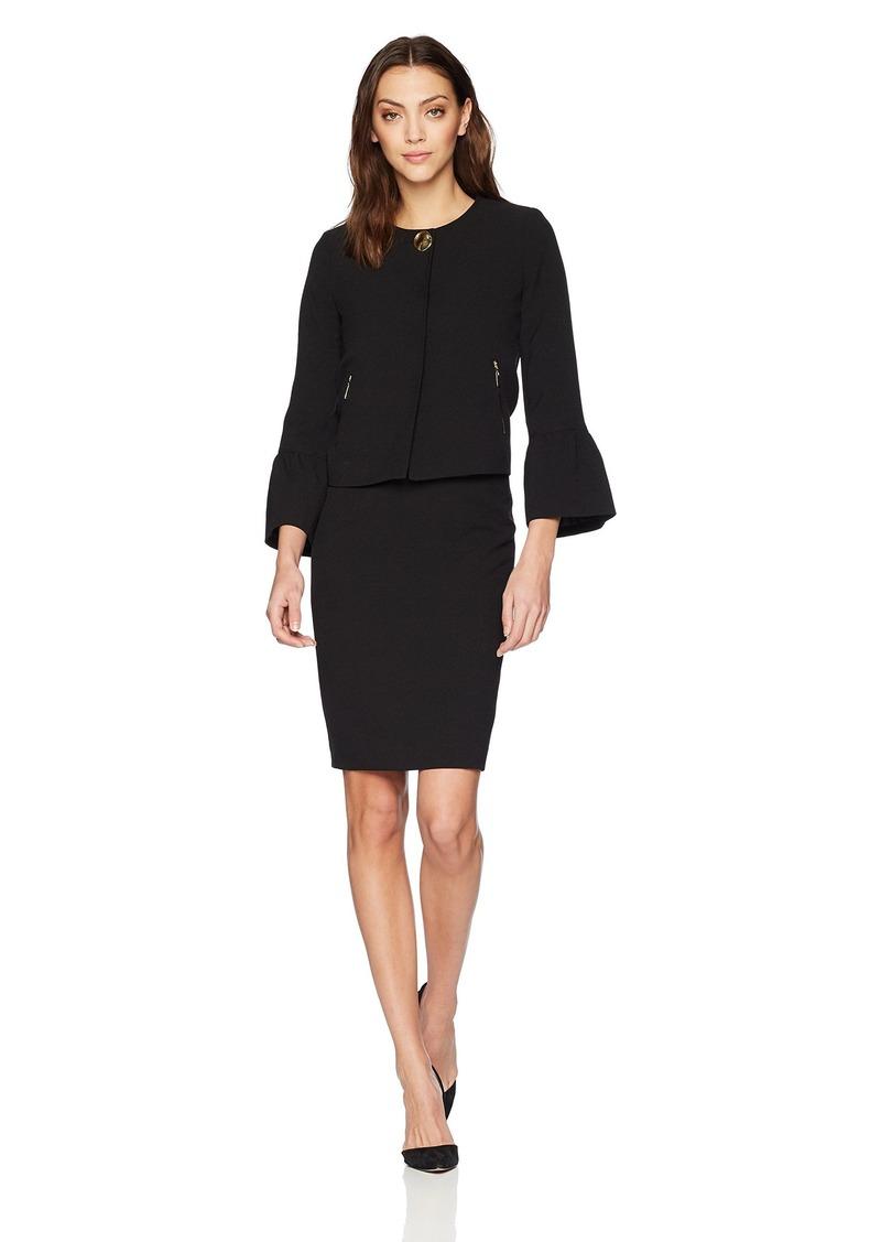Tahari by Arthur S. Levine Women's Crepe Skirt Suit with Tulip Sleeve Jacket
