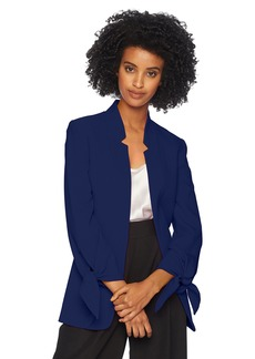Tahari by Arthur S. Levine Women's Crepe Starneck Open Jacket with Tie Sleeve