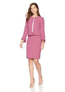 Tahari by Arthur S. Levine Women's Crepe Tulip Sleeve Open Front Jacket Skirt Suit