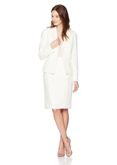Tahari by Arthur S. Levine Women's Crepe Two Button Skirt Suit with Threaded Cutouts