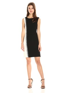 Tahari by Arthur S. Levine Women's Crepe Two-Tone Sheath Dress Black/Ivory