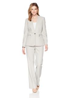 Tahari by Arthur S. Levine Women's Cross Dye Long Sleeve One Button Jacket Pant Suit