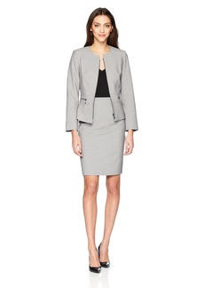 Tahari by Arthur S. Levine Women's Cross Dye Skirt Suit With Full Front Zipper
