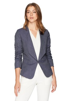 Tahari by Arthur S. Levine Women's Denim Rouched Sleeve Jacket with Shawl Collar Blue