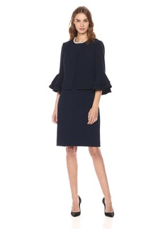 Tahari by Arthur S. Levine Women's Double Ruffle Tulip Sleeve Jacket Dress