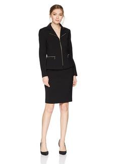 Tahari by Arthur S. Levine Women's Double Weave Long Sleeve Skirt Suit