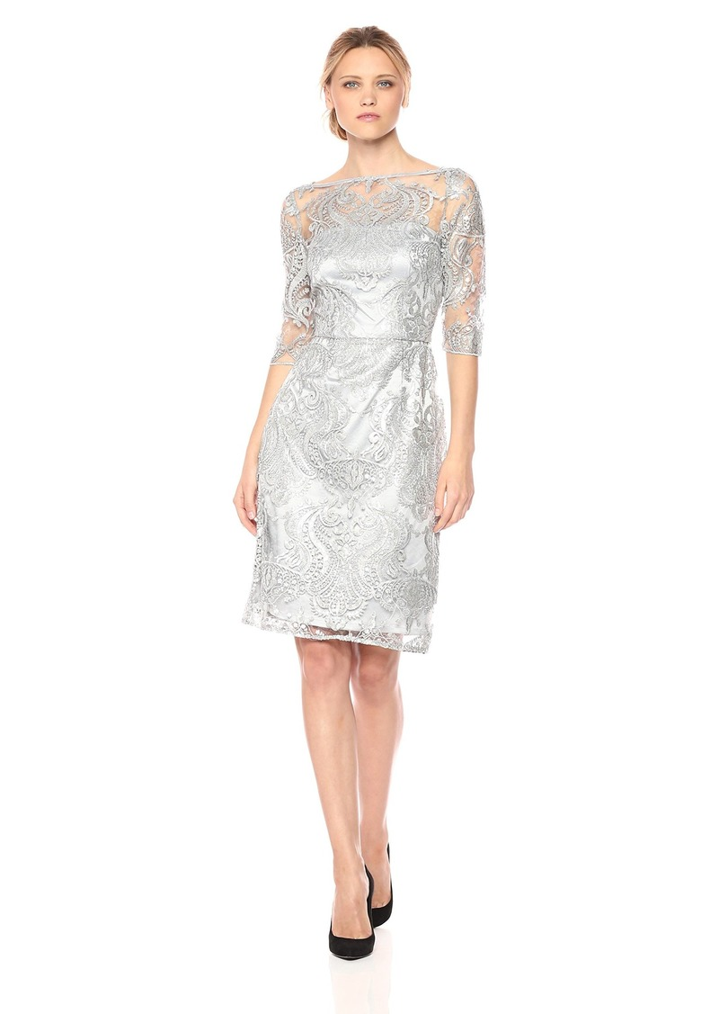 Tahari by Arthur S. Levine Women's Dress with Mesh Top and Rhinestone Emb