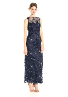 Tahari by Arthur S. Levine Women's Embroidered Lace Column Gown
