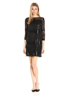 Tahari by Arthur S. Levine Women's Embroidered Mesh 3/4 Sleeve Dress