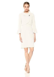 Tahari by Arthur S. Levine Women's Envelope Neckline Jacket Dress with Flutter Sleeve