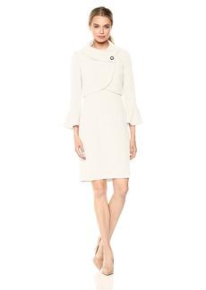 Tahari by Arthur S. Levine Women's Envelope Neckline Jacket Dress with Flutter Sleeve