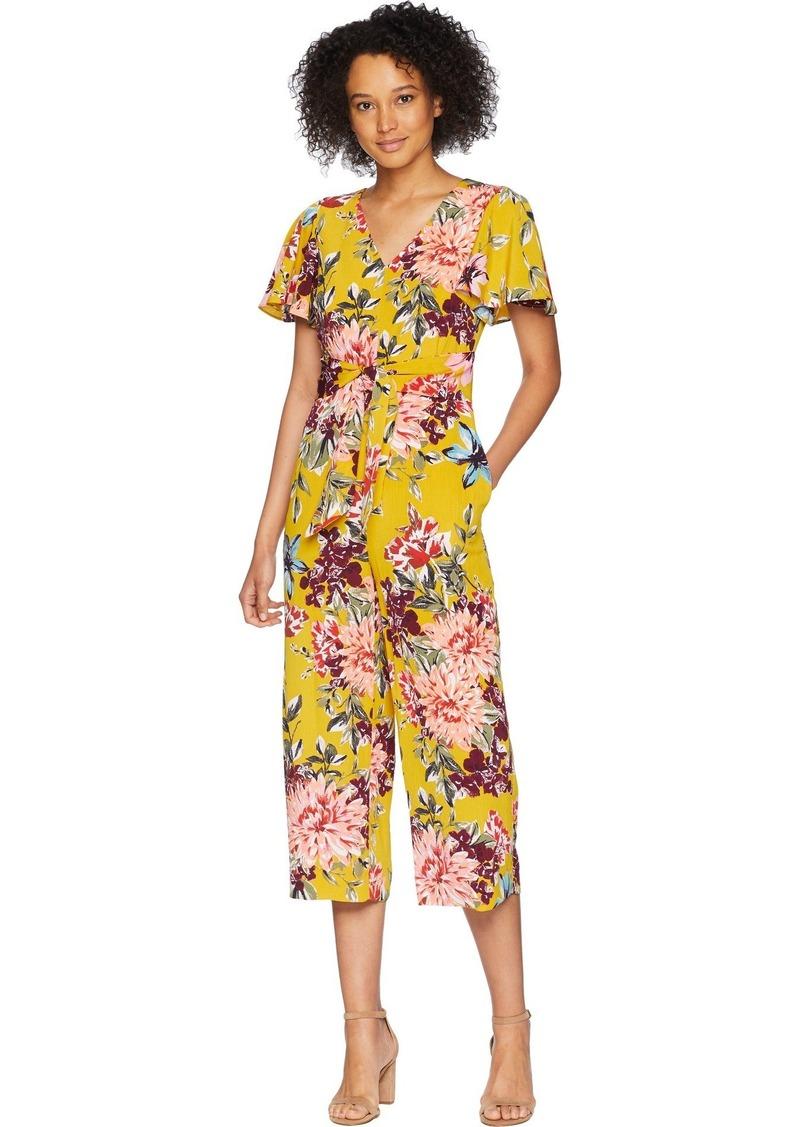 Tahari by Arthur S. Levine Women's Floral Crinkle Jumpsuit