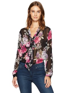 Tahari by Arthur S. Levine Women's Floral Print Tie Neck Long Sleeve Blouse  XL