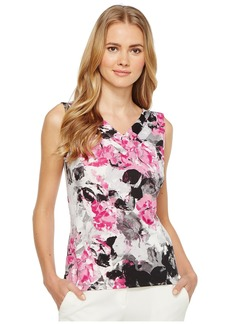 Tahari by Arthur S. Levine Women's Floral Printed Jersey V-Neck Blouse  XL