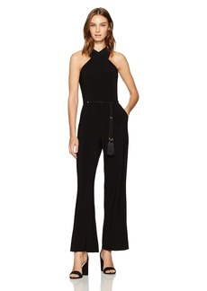 Tahari by Arthur S. Levine Women's Halter Neck Jersey Jumpsuit With Tie At Bodice