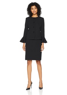 Tahari by Arthur S. Levine Women's Jewel Neck Bell Sleeve 4 Snap Jacket Skirt Suit