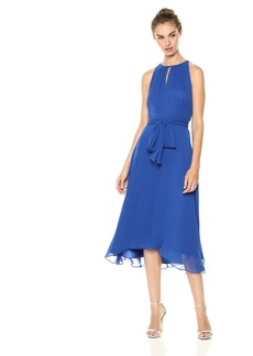 Tahari by Arthur S. Levine Women's Keyhole Chiffon Dress neon Royal