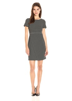 Tahari by Arthur S. Levine Women's Knit Ottoman Short Sleeve Dress Black/Ivory