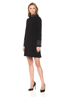 Tahari by Arthur S. Levine Women's Long Dress with Embelishment on Neck and Sleeves