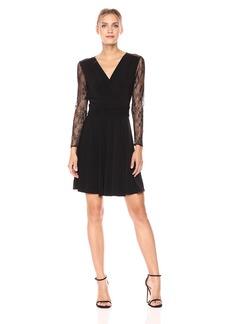 Tahari by Arthur S. Levine Women's Long Sleeve Lace Crepe Dress