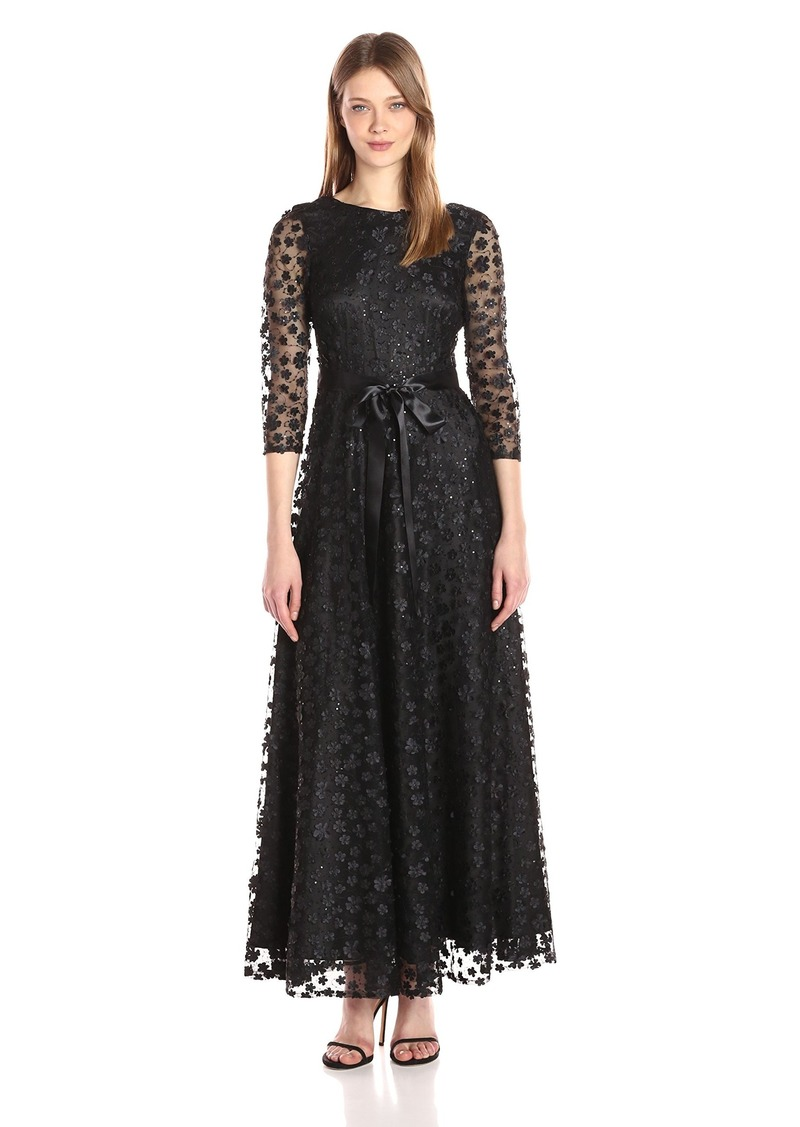 Tahari by Arthur S. Levine Women's Long Sleeve Novelty Floret Gown