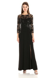 Tahari by Arthur S. Levine Women's Long Sleeve Sequin Lace Crepe Gown