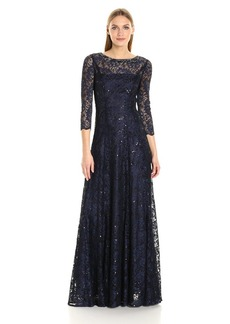 Tahari by Arthur S. Levine Women's Long Sleeve Stretch Lace Gown