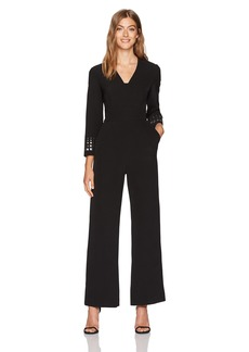 Tahari by Arthur S. Levine Women's Long V Neck Jumpsuit with Embellishment on Sleeves