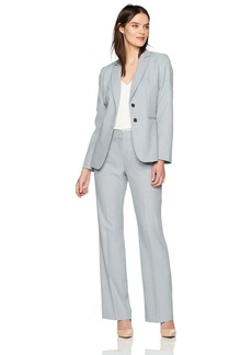 Tahari by Arthur S. Levine Women's Melange Pant Suit With Long Sleeve Two Button Closure Jacket