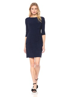 Tahari by Arthur S. Levine Women's Melange Tiered Long Sleeve Dress