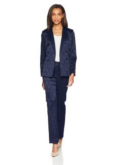 Tahari by Arthur S. Levine Women's Miltary Style Peak Lapel Jacquard Pant Suit